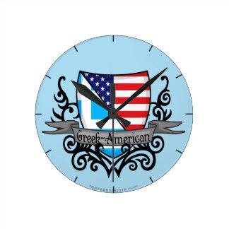 Bandera Griego-Americana del escudo Reloj Redondo Mediano