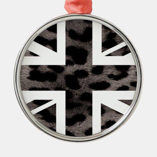 Bandera gris de Jack Británicos (Reino Unido) del Adorno Navideño Redondo De Metal