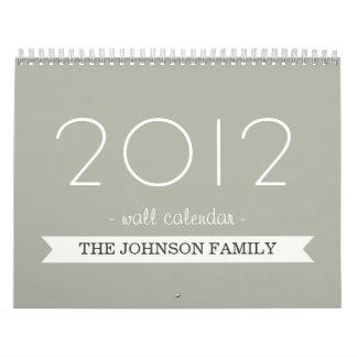 Bandera gris de la grava su calendario de pared de
