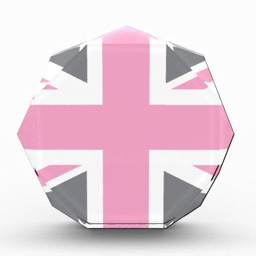 Bandera gris rosada de Union Jack Británicos (Rein