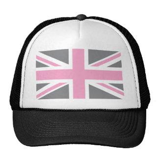 Bandera gris rosada de Union Jack Británicos (Rein Gorras