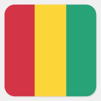 Bandera guineana pegatina cuadrada