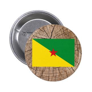 Bandera guyanesa francesa en corteza de árbol pin redondo 5 cm