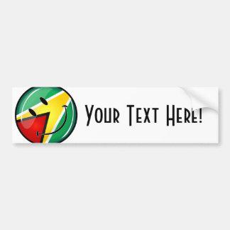 Bandera guyanesa sonriente de la ronda brillante pegatina para auto
