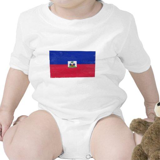 Bandera haitiana apenada trajes de bebé