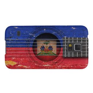 Bandera haitiana en la guitarra acústica vieja fundas para galaxy s5