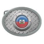 Bandera haitiana industrial con el gráfico de acer hebilla de cinturon oval