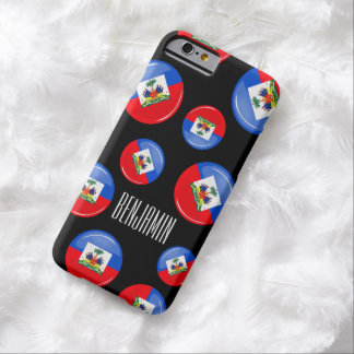 Bandera haitiana redonda brillante funda de iPhone 6 barely there