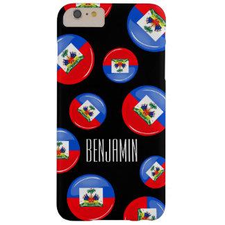 Bandera haitiana redonda brillante funda de iPhone 6 plus barely there