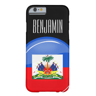 Bandera haitiana redonda brillante funda para iPhone 6 barely there