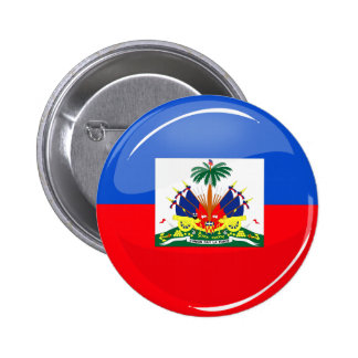 Bandera haitiana redonda brillante pin redondo de 2 pulgadas