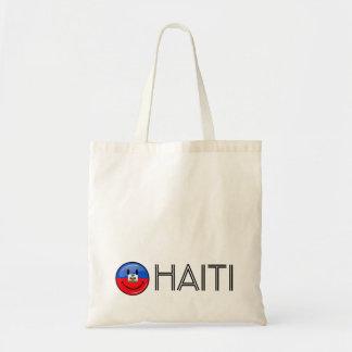 Bandera haitiana sonriente redonda brillante bolsa tela barata