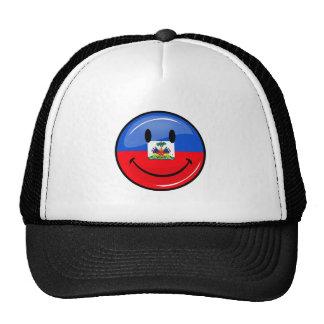 Bandera haitiana sonriente redonda brillante gorro