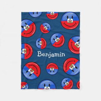 Bandera haitiana sonriente redonda brillante manta de forro polar