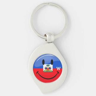 Bandera haitiana sonriente redonda brillante llaveros