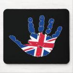 Bandera Handprint de Reino Unido Alfombrilla De Ratón