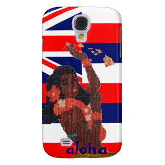 Bandera hawaiana con el chica de Hula