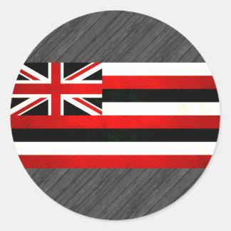 Bandera hawaiana nerviosa moderna etiqueta redonda