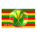 Bandera hawaiana vieja con la tarjeta de visita de