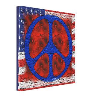 Bandera hecha andrajos de la paz lienzo envuelto para galerías