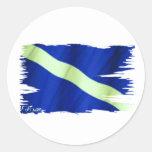 Bandera hecha andrajos de la zambullida por FishTs Etiquetas Redondas