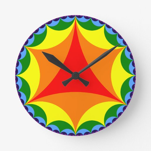 Bandera hiperbólica del arco iris relojes de pared
