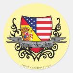Bandera hispanoamericana del escudo etiquetas redondas