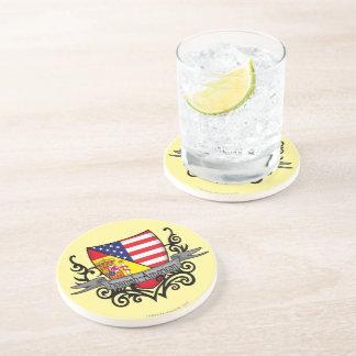 Bandera hispanoamericana del escudo posavasos para bebidas