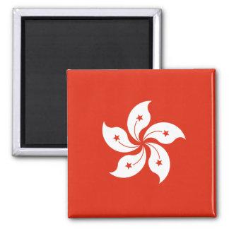 Bandera HK de Hong Kong Imán Cuadrado