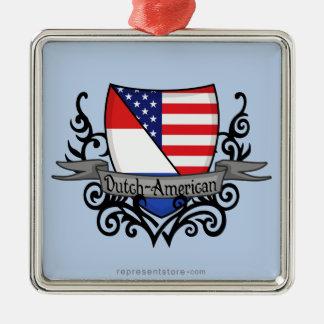 Bandera Holandés-Americana del escudo Adorno Cuadrado Plateado