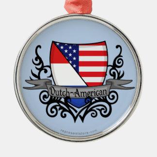 Bandera Holandés-Americana del escudo Adorno Redondo Plateado