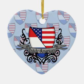Bandera Holandés-Americana del escudo Adorno De Cerámica En Forma De Corazón