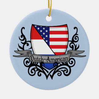 Bandera Holandés-Americana del escudo Adorno Redondo De Cerámica