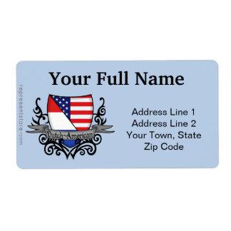 Bandera Holandés-Americana del escudo Etiquetas De Envío