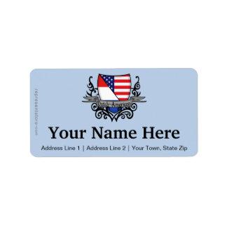 Bandera Holandés-Americana del escudo Etiqueta De Dirección