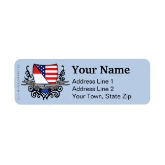 Bandera Holandés-Americana del escudo Etiquetas De Remite
