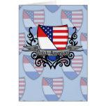 Bandera Holandés-Americana del escudo Felicitacion