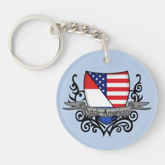 Bandera Holandés-Americana del escudo Llavero Redondo Acrílico A Doble Cara