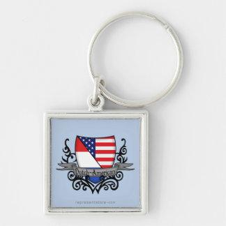 Bandera Holandés-Americana del escudo Llavero Cuadrado Plateado