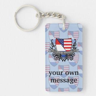 Bandera Holandés-Americana del escudo Llavero Rectangular Acrílico A Doble Cara