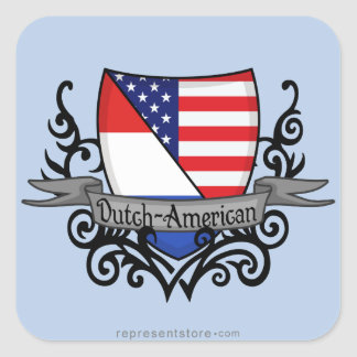 Bandera Holandés-Americana del escudo Pegatina Cuadrada