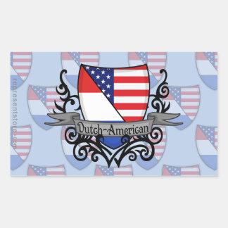 Bandera Holandés-Americana del escudo Pegatina Rectangular