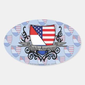 Bandera Holandés-Americana del escudo Pegatina Ovalada
