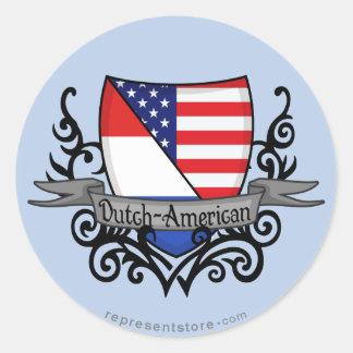 Bandera Holandés-Americana del escudo Pegatina Redonda