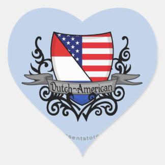 Bandera Holandés-Americana del escudo Pegatina En Forma De Corazón