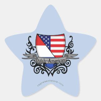 Bandera Holandés-Americana del escudo Pegatina En Forma De Estrella