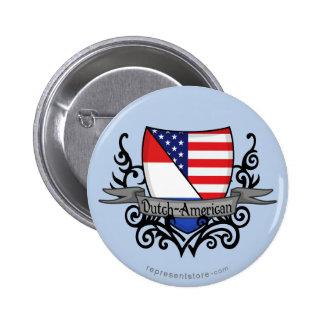 Bandera Holandés-Americana del escudo Pin Redondo De 2 Pulgadas