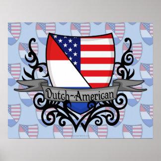 Bandera Holandés-Americana del escudo Póster
