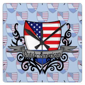 Bandera Holandés-Americana del escudo Reloj Cuadrado