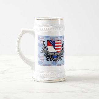 Bandera Holandés-Americana del escudo Jarra De Cerveza